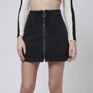 Topshop Denim Black Skirt